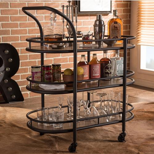 Baxton Studio Karlin Rustic Industrial Mobile Serving Cart by Overstock
