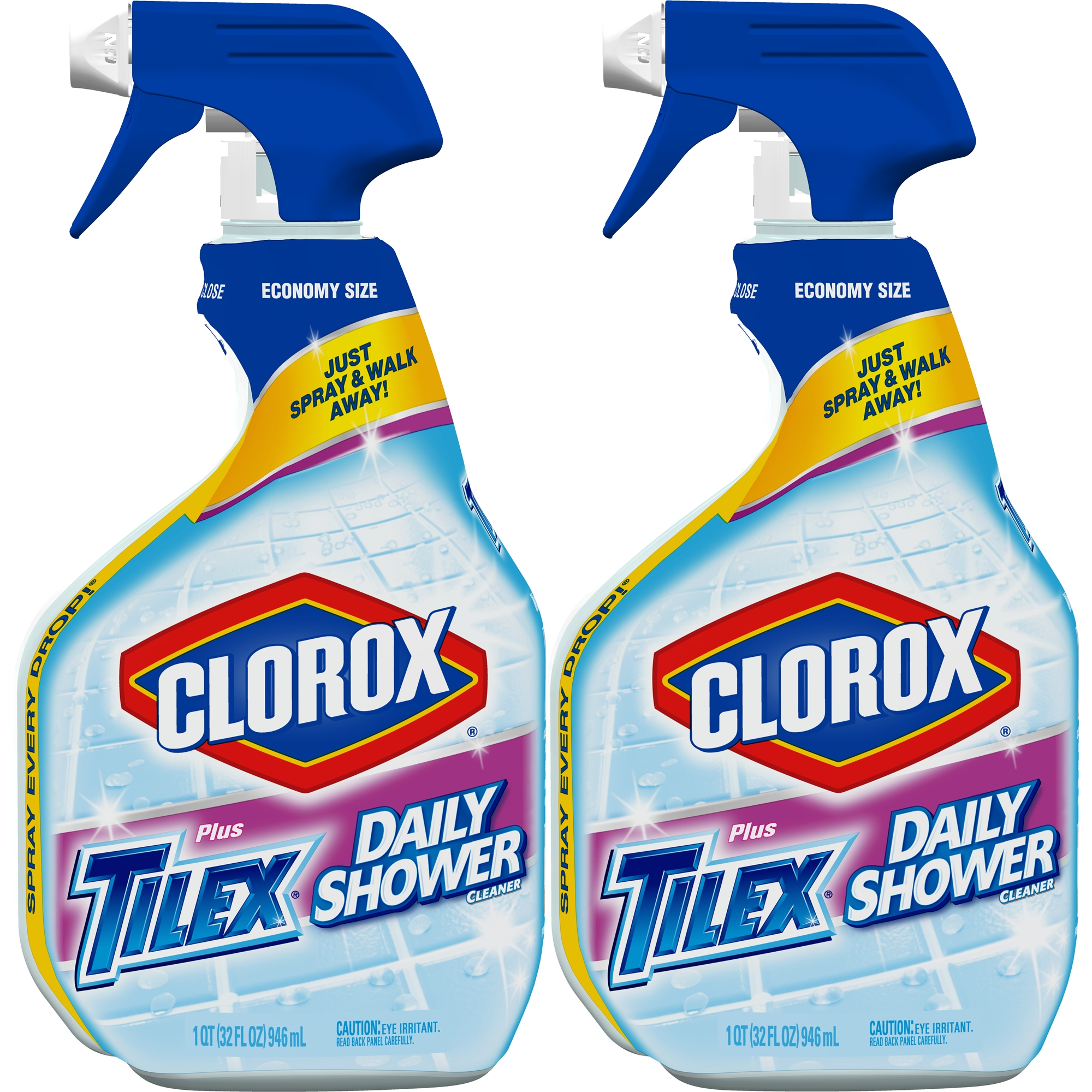 Clorox Plus Tilex Daily Shower Cleaner, Spray Bottle, 32 oz Bottles, 2 Pack