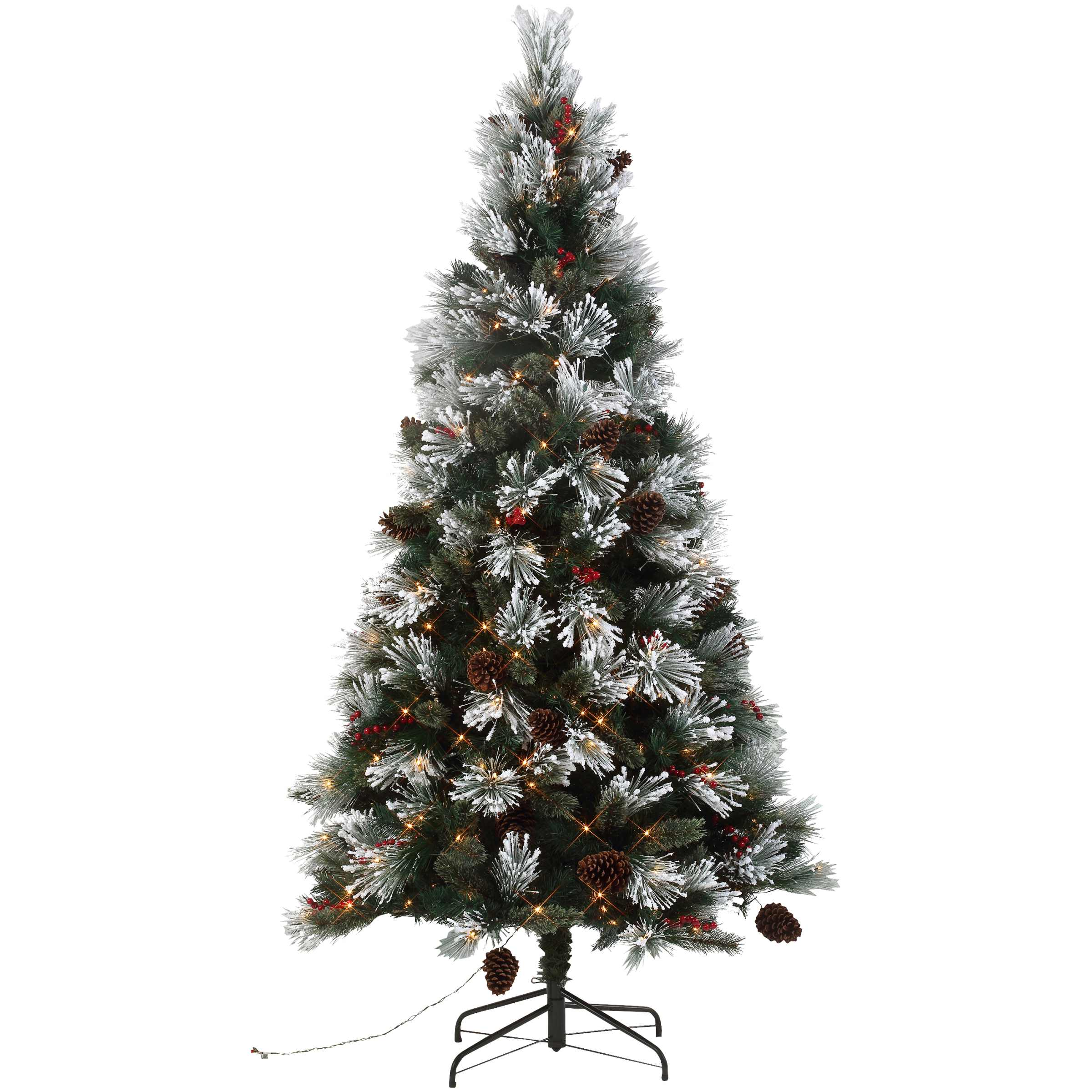 Holiday Time 7.5-Foot Pre-Lit Mountain Frost Pine Tree 400 Lights with Metal Tree Stand