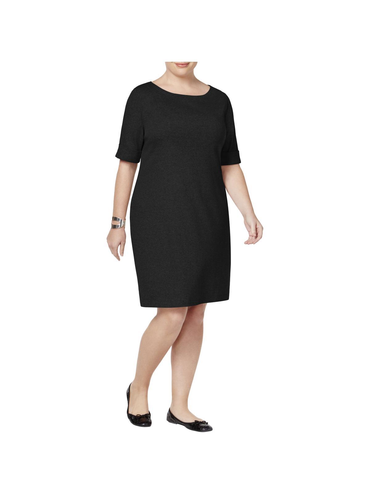 Karen Scott Karen Scott Womens Plus Black Knee Length T Shirt