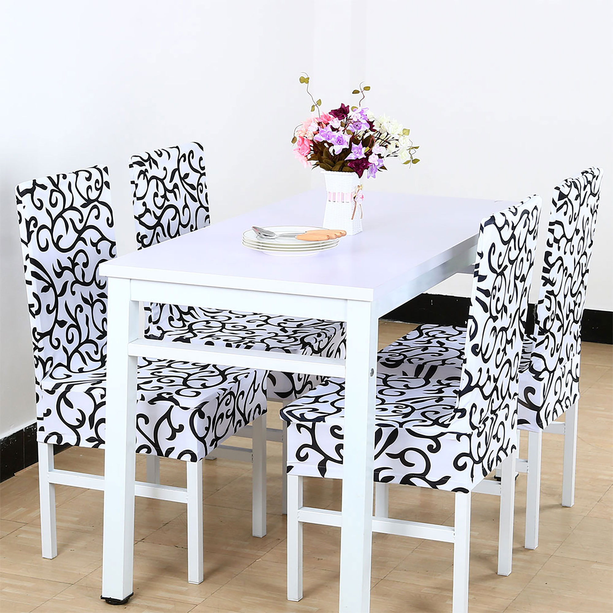 Stretch Dining Room Chair Cover For Shorty Parson Chair White Bedding For Home Walmart Com Walmart Com