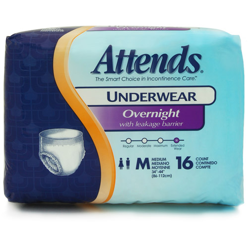Attends Overnight Protective Underwear with Leakage Barriers, Medium, 16 count