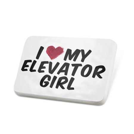 Porcelein Pin I heart love my Elevator Girl Lapel Badge –