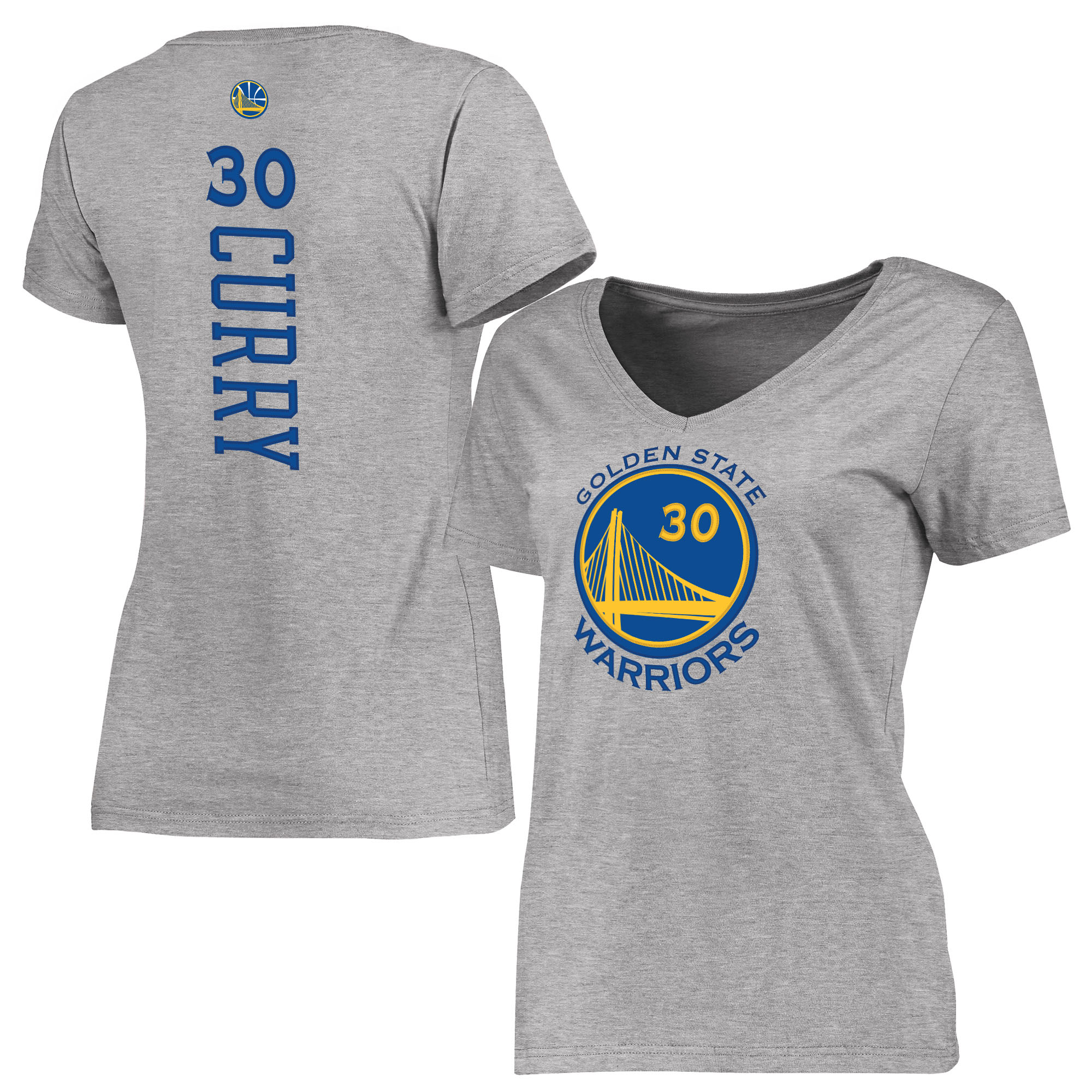 Stephen Curry Golden State Warriors Women's Backer Classic Fit Name & Number T-Shirt - Gray
