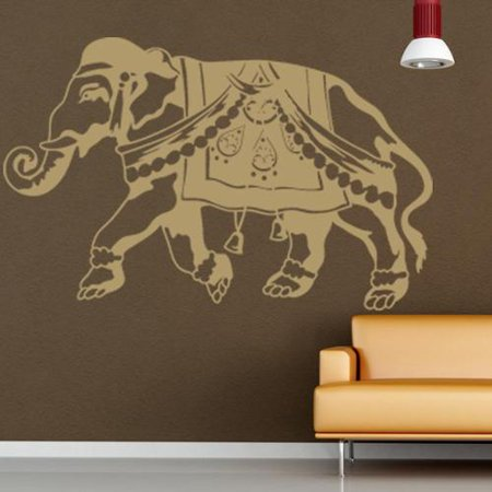 Indian elephant wall decal vinyl art home decor silver 39in x 25in Silver elephant home decor