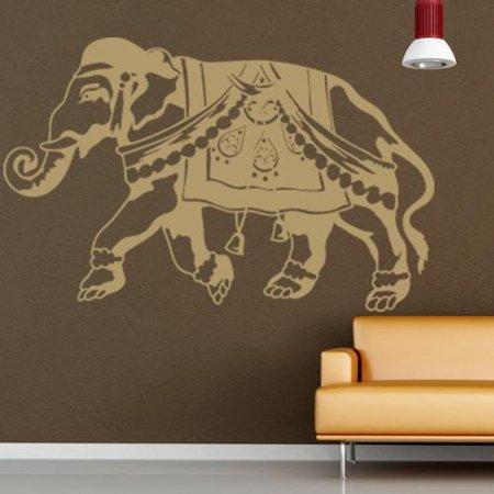 Indian Elephant Wall Decal Vinyl Art Home Decor Silver 39in X 25in: silver elephant home decor