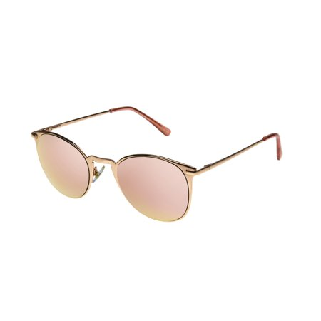 Foster Grant Women's Rose Gold Mirrored Round Sunglasses (Foster Grant Sunglasses For Women)