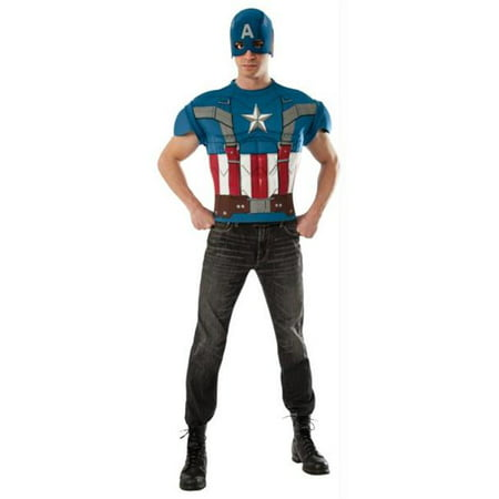 Morris Costumes RU820001 Captain America Top Adult - Captain America Costume Mens
