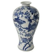 A&B Home Ren Blue & White Bird Vase