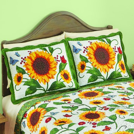 Hotel Collection Quilted Sham - Sunflower & Butterflies Floral Scalloped Edge Quilted Pillow Sham