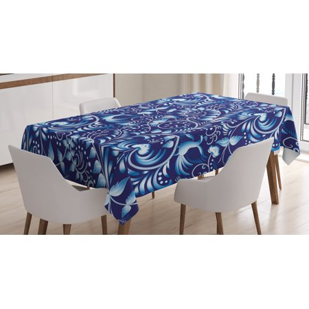 Navy Tablecloth, Folk Chinese Design Inspired Floral Swirls Classic Ethnic Image, Rectangular Table Cover for Dining Room Kitchen, 60 X 84 Inches, Royal and Sky Blue, by (Royal Swirl Fine China Japan)