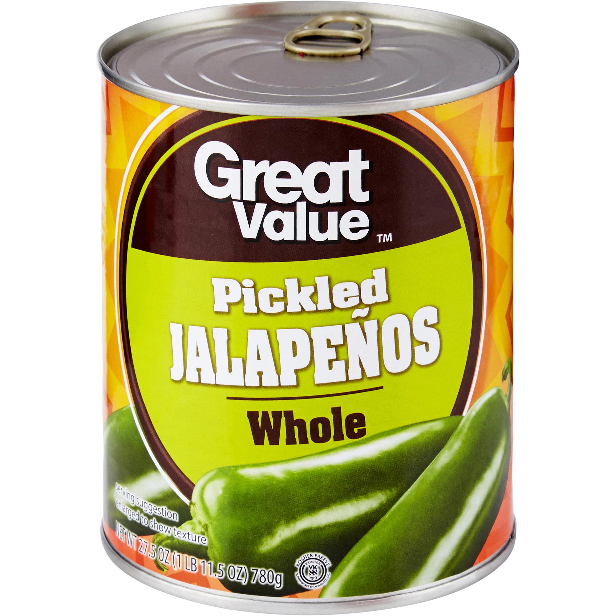 Great Value Whole Jalapenos, 27.5 oz