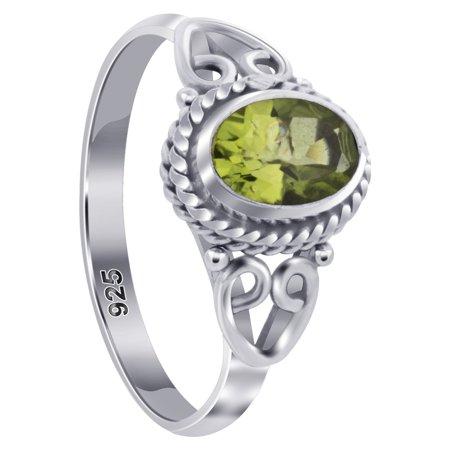 Peridot Gemstone Chip - Gem Avenue 925 Sterling Silver Oval Peridot Gemstone Bali Women's Ring Size 7