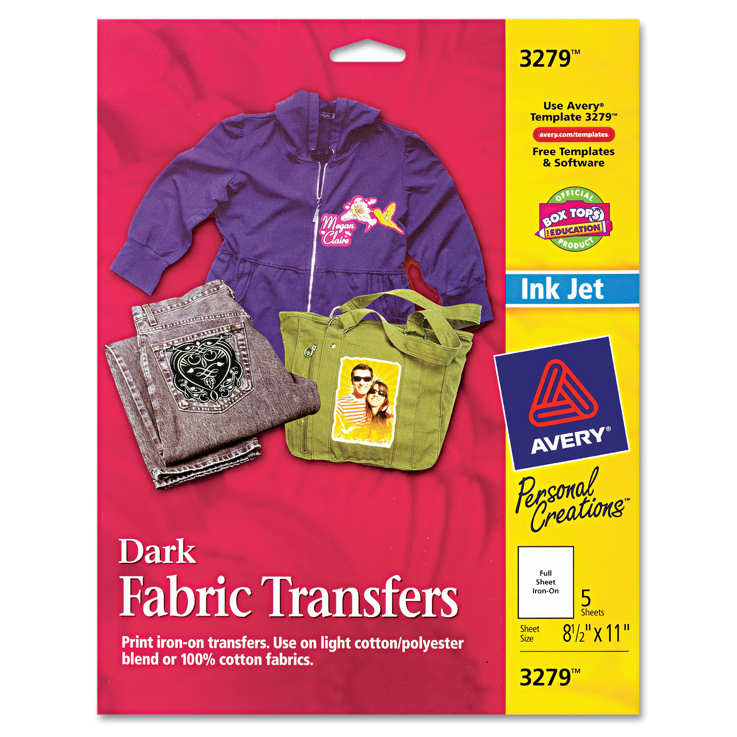 Avery Dark T-shirt Transfers for Inkjet Printers 3279, 5-Pack ...