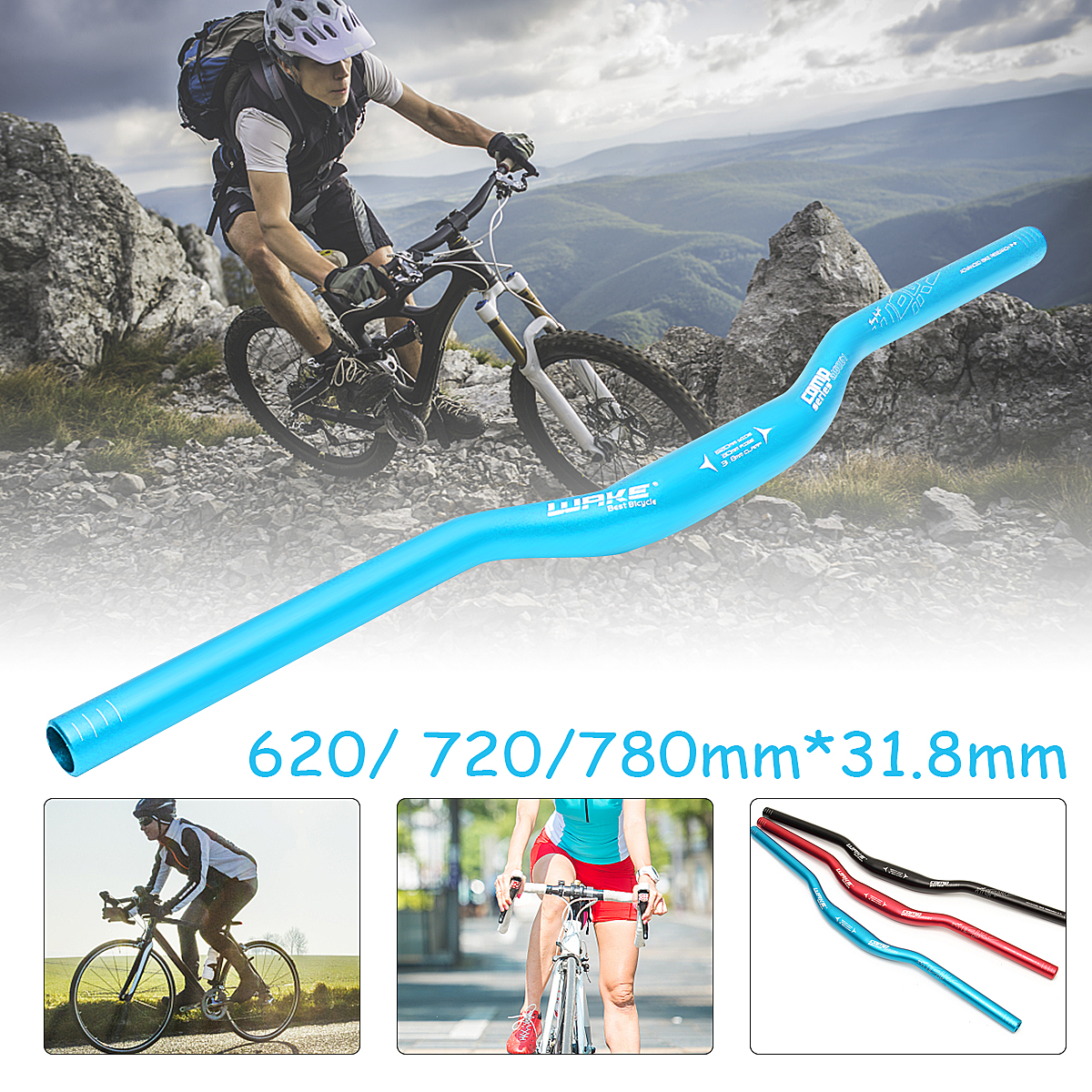 620mm/24.4'' Cycling Aluminium Alloy Mountain Bike Bicycle Handlebar 620mm/24.4'' Riser Bar 3 Colors
