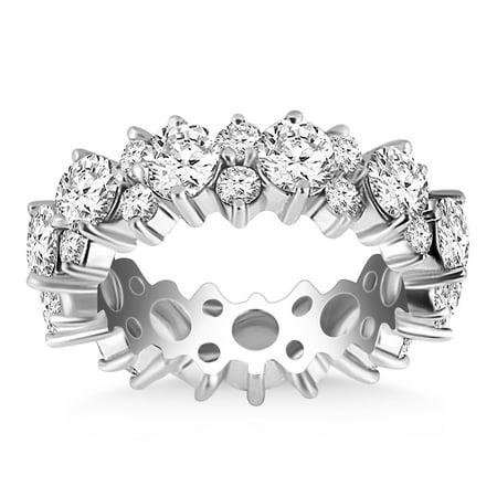 Ornamental Diamonds (14K White Gold Ornamental Round Diamond Eternity Ring Size -)