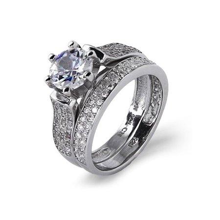 Dazzling Brilliant Cut 1.25 Carat Pave CZ Engagement Set - Clearance Final Sale (Dazzling Rock Bridal Sets)