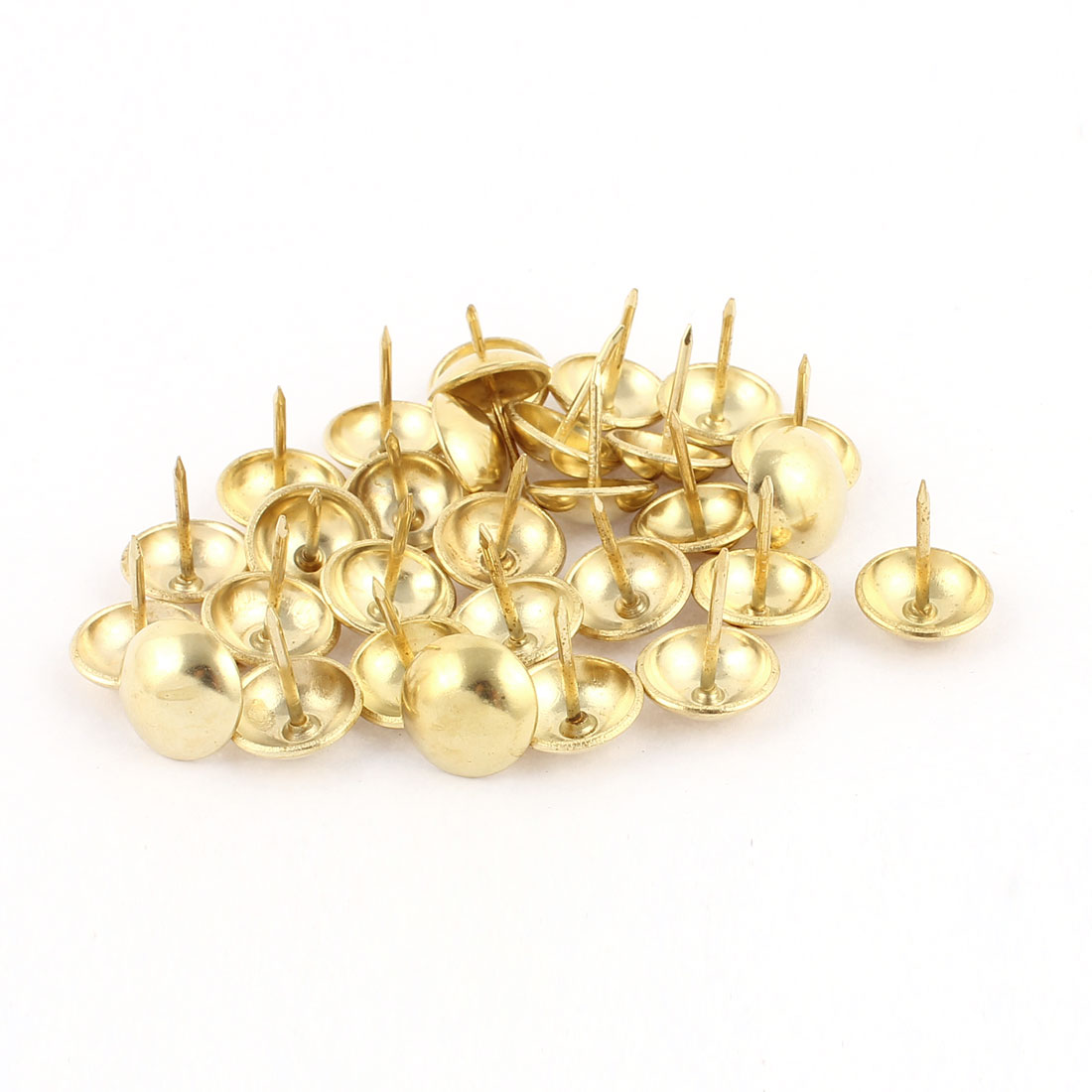 Home Furniture Sofa Iron Upholstery Thumb Tack Nail Gold Tone 14mm x 17mm 30pcs