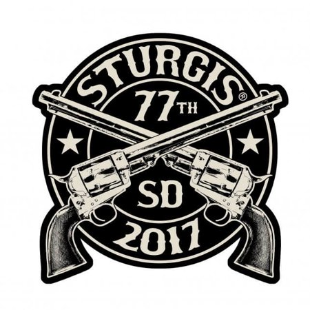 2017 STURGIS MOTORCYCLE RALLY CROSSED PISTOL - Original Iron On PATCH, 3.5