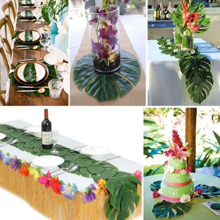 Electronicheart 12/24/48pcs Artificial Tropical Palm Monstera Leaves Simulation Leaf for Hawaiian Luau Beach Theme Party Jungle Decoration - image 4 of 6