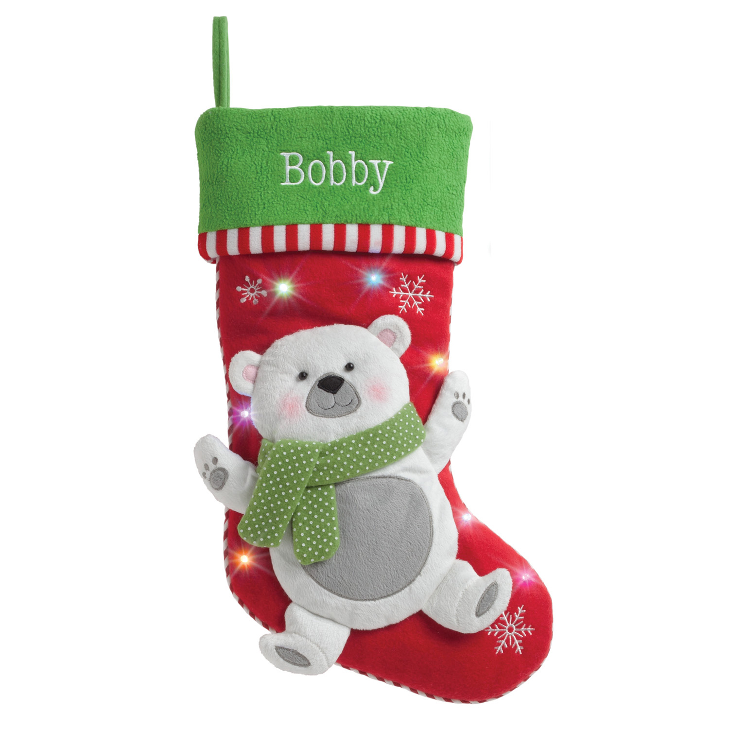 Personalized LED Light Up Christmas Stocking with 5 Styles to Choose ...