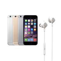 Certified Refurbished iPhone 6 Plus Gold GSM UNLOCKED 128GB - Includes NEW DB1 In-ear Wireless Bluetooth Headphones White