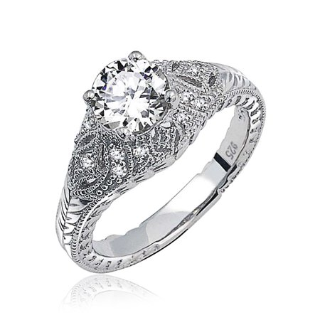 Art Deco Style Solitaire Round Crown Mount Milgrain Filigree Promise CZ Engagement Ring For Women 925 Sterling -