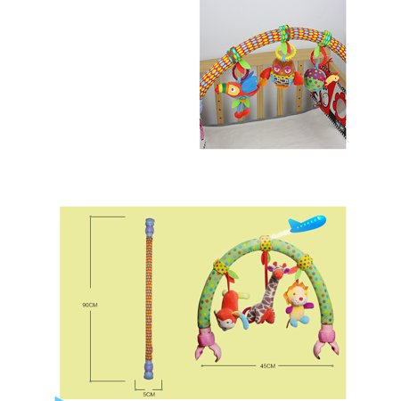 Cute Forest Cloth Animal Birds Toys Baby Travel Play Arch Activity Bar for Stroller Pram Crib Specification:Forest animals - image 4 de 6