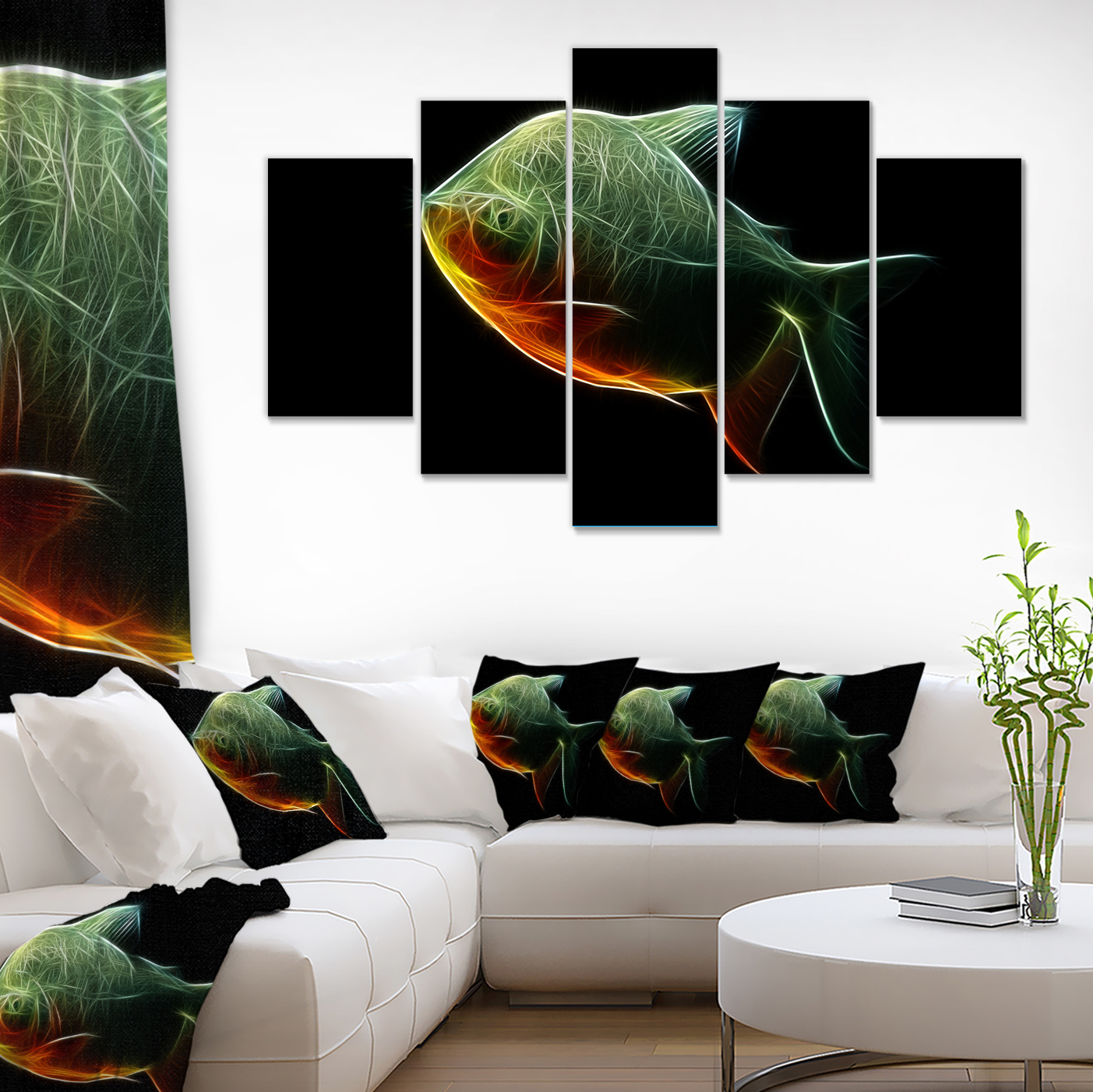 Fractal Pacu Fish on Black - Large Animal Canvas Artwork - image 2 de 3