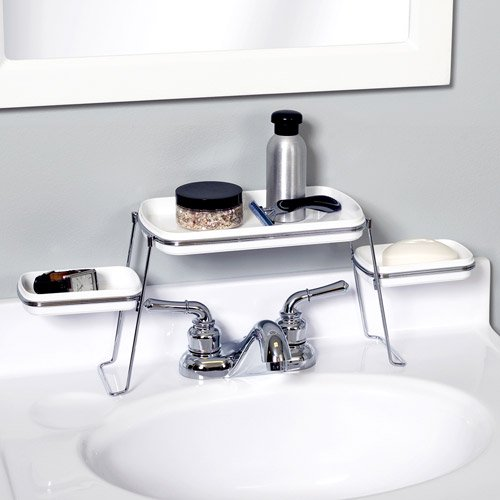 Zenna Home Vanity Shelf Chrome And White Walmartcom