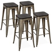 Best Choice Products Set of 4 30in Industrial Stackable Backless Counter Height Steel Bar Stools w/ Wood Seats - Bronze