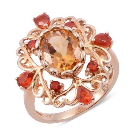 - Citrine Fire Opal Gold Over 925 Sterling Silver Cluster Cocktail Ring For Women 2.4 Cttw Size 7