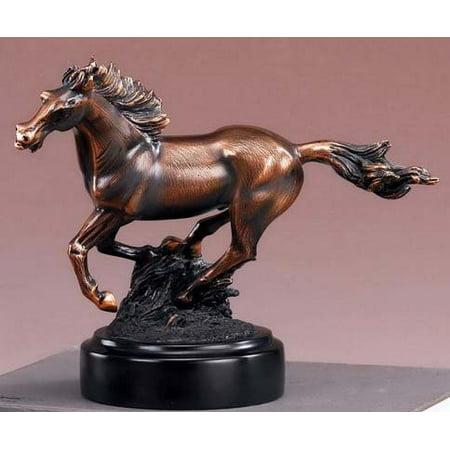 Equestrian Galloping Running Horse Statue - Figurine with Bronze (Bronze Finish Sculpture)