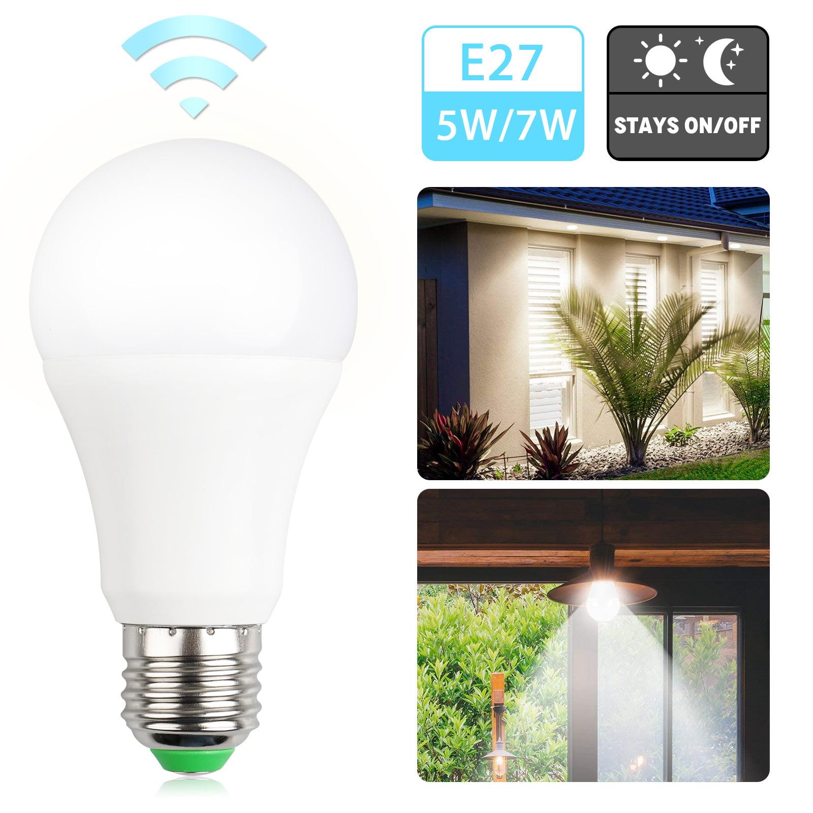 TSV LED Dusk-to-Dawn Light Bulb, E27 5W / 7W Medium Screw Base Soft White Sensor Light for Indoor and Outdoor Use