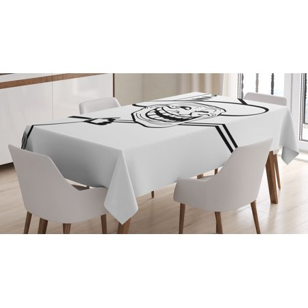 Humor Decor Tablecloth, Halloween Spirit Themed Witch Guy Meme Lol Joy Spooky Avatar Artful Image, Rectangular Table Cover for Dining Room Kitchen, 60 X 84 Inches, Black White, by - Meme Halloween Drunk
