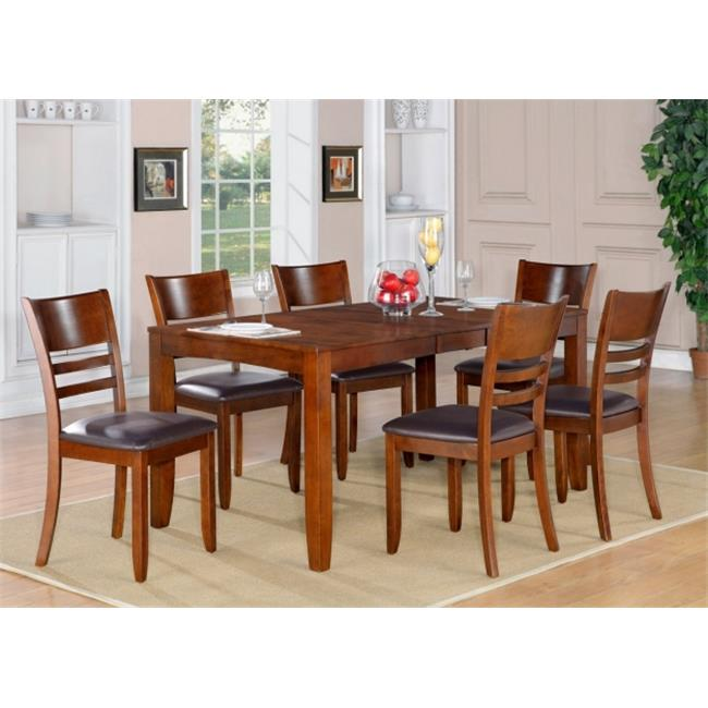 Wooden Imports Furniture LY5-ESP-LC 5PC Lynfield Rectangular Dining Table with Butterfly leaf & 4 Faux Leather upholstered Seat Chairs in Espresso Finish