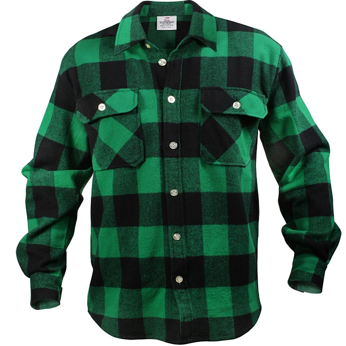 Rothco - Extra Heavyweight Buffalo Plaid Flannel Shirts - Green Plaid 6514984733f