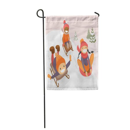 NUDECOR Diverse Group of Multicultural Boys and Girl Sliding Down on Rubber Tubes Sledge Garden Flag Decorative Flag House Banner 28x40 inch - image 1 de 1