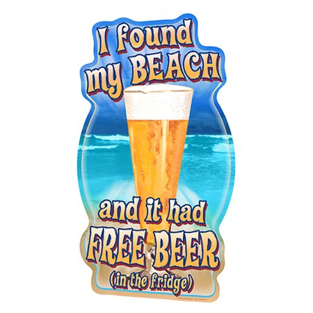 Vinyl Free Decal (I Found My Beach And It Had Free Beer [3 Pack] of Vinyl Decal Stickers | 5