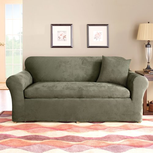 Sure Fit Stretch Suede 3 Piece Sofa Slipcover Walmart Com