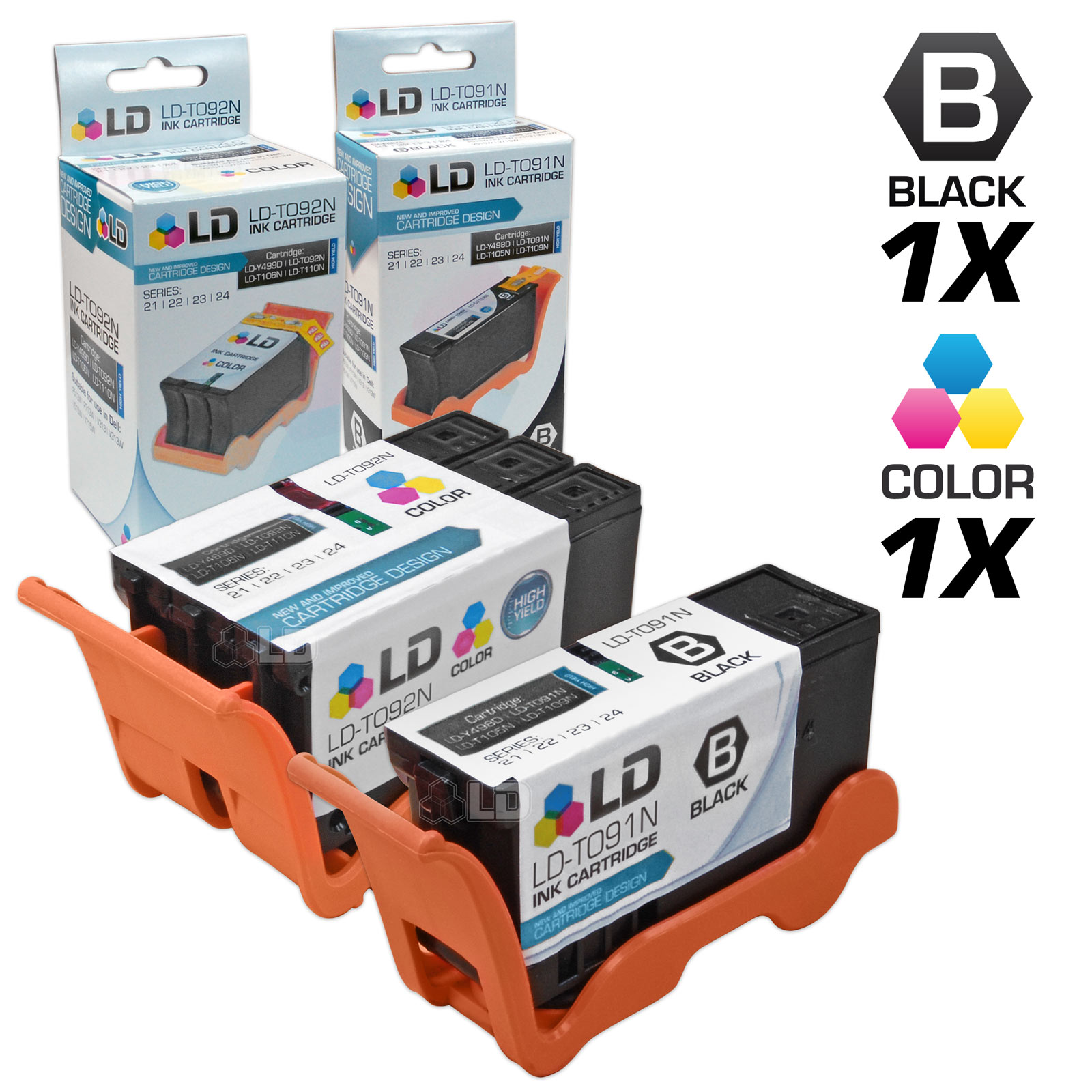 LD Compatible Dell Series 22 Set of 2 High Yield Black & Color Ink Cartridges for the Dell P513w, V313, V313w Printers: