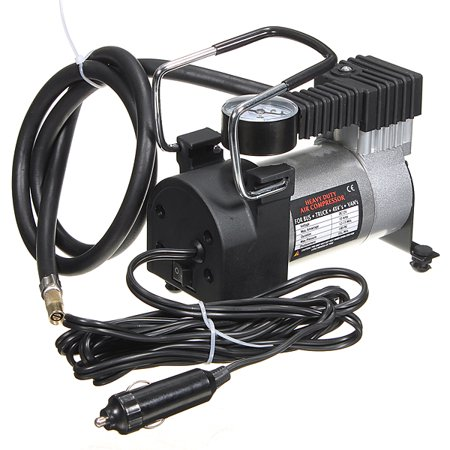 Heavy Duty Portable 12V 144W 100PSI Car Tyre Auto Tire Inflator Pump Air Compressor Barometer Universal Vehicle SUV Van Auto Van Truck Caravan Cigarette Lighter Plug (Best Master Airbrush 12v Compressors)