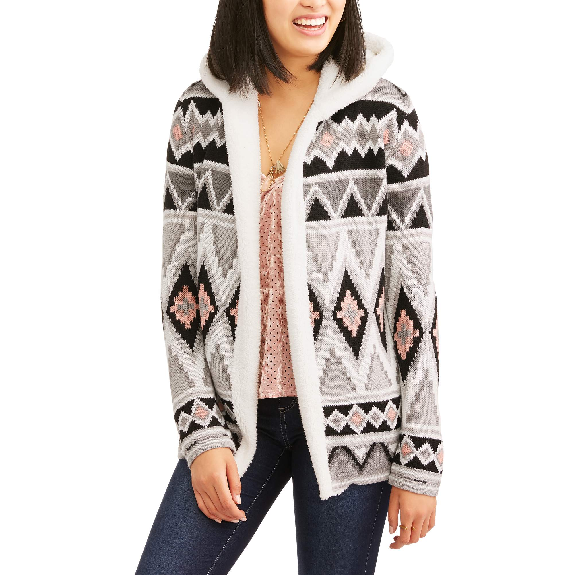 No Boundaries Juniors' Tribal Printed Hooded Open Front Fleece Cardigan