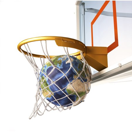 3D Rendering Of Planet Earth Falling Into A Basketball Hoop Canvas Art   Leonello Calvettistocktrek Images  29 X 29