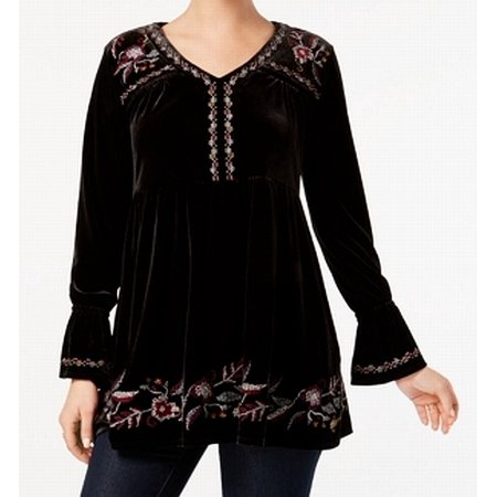 100% top quality hot-selling discount outstanding features Style & Co. Women's Floral Embroidered Velvet Tunic