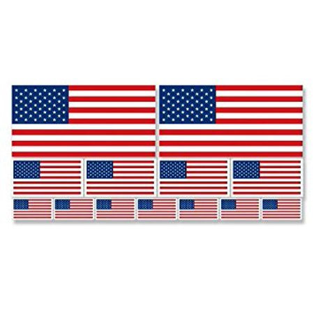 SHEET of Multiple Size USA Flag Sticker Decal ics (scrapbooking small us american) Sizes: 2@ 2x4 inch; 4@ 1x2 inch; 7@.5x1 inch State Usa Scrapbooking Stickers
