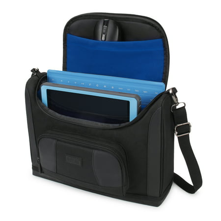 usa gear compact tablet messenger bag compatible with galaxy tab s4 10.5, galaxy book 10.6, galaxy tab a 10.1 with durable exterior, shoulder strap, padded adjustable interior dividers