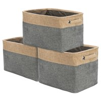 Sorbus Twill Storage Large Rectangular Fabric Collapsible Basket Organizer with Carry Handles, Multiple Colors, Set of 3
