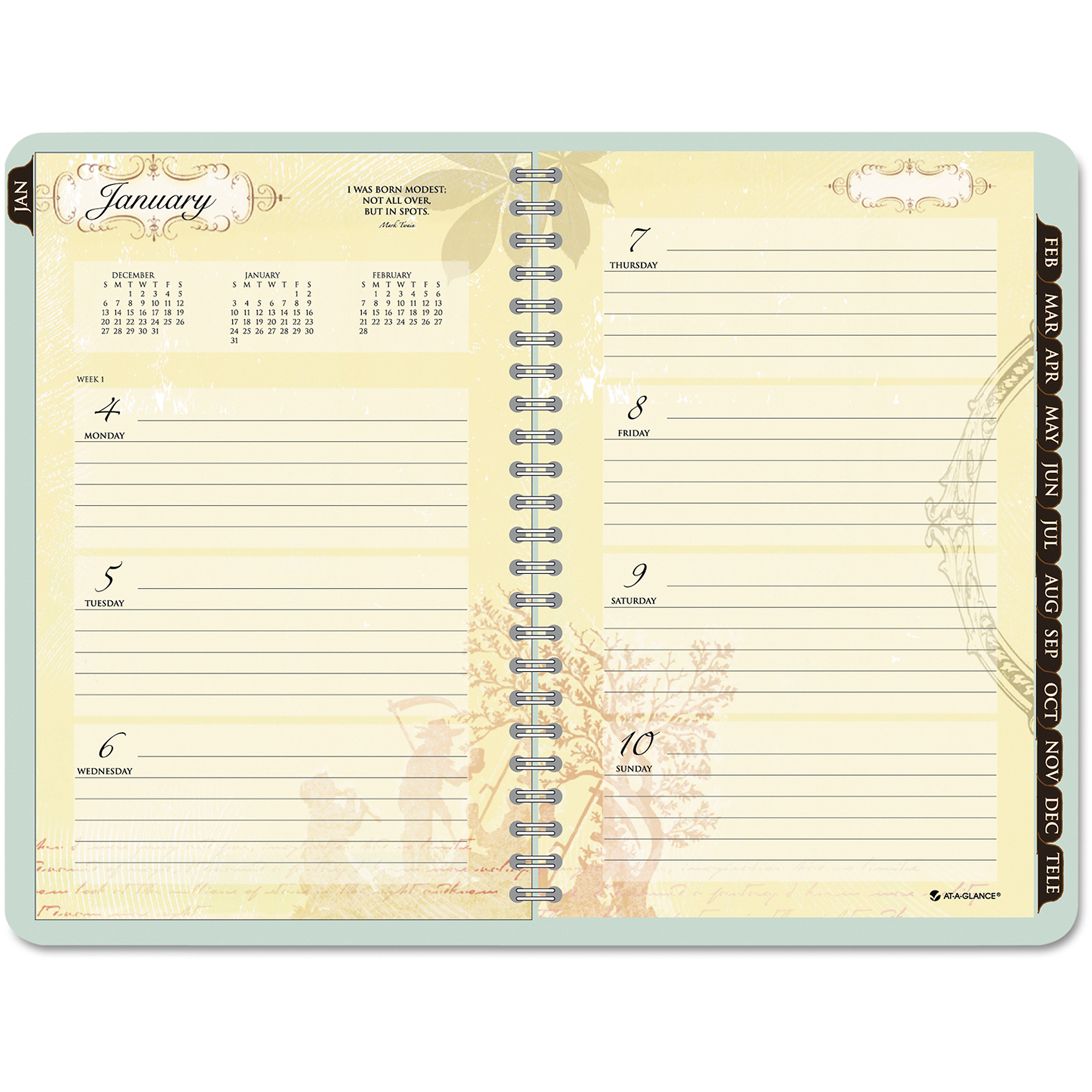 "AT-A-GLANCE Poetical Weekly/monthly Planner, 5 1/2"" X 8 1/2"", Green, 2016-2017"