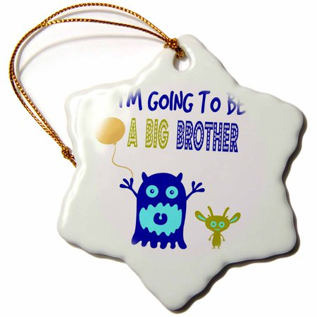 3dRose Im going to be a big brother. Funny quotes. Popular saying., Snowflake Ornament, Porcelain, 3-inch - Halloween Party Quotes And Sayings